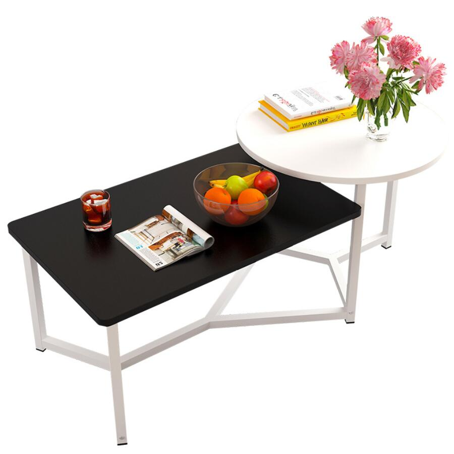 Black Mixed Shape Coffee Cocktail Side Table Black And White