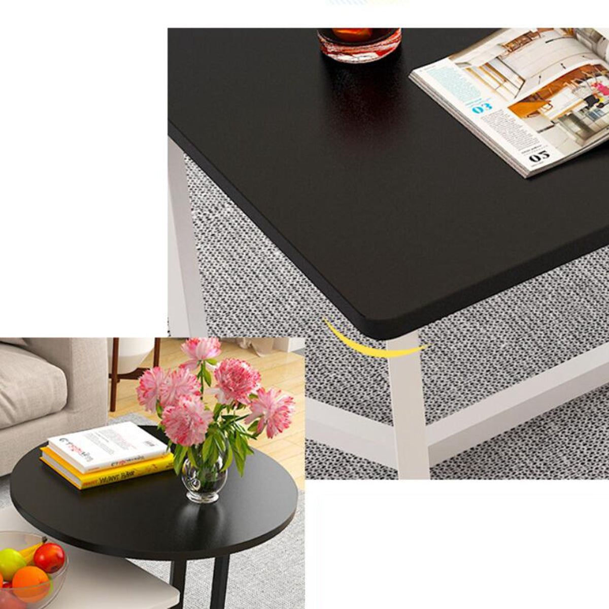 Dark Slate Gray Mixed Shape Coffee Cocktail Side Table Black And White