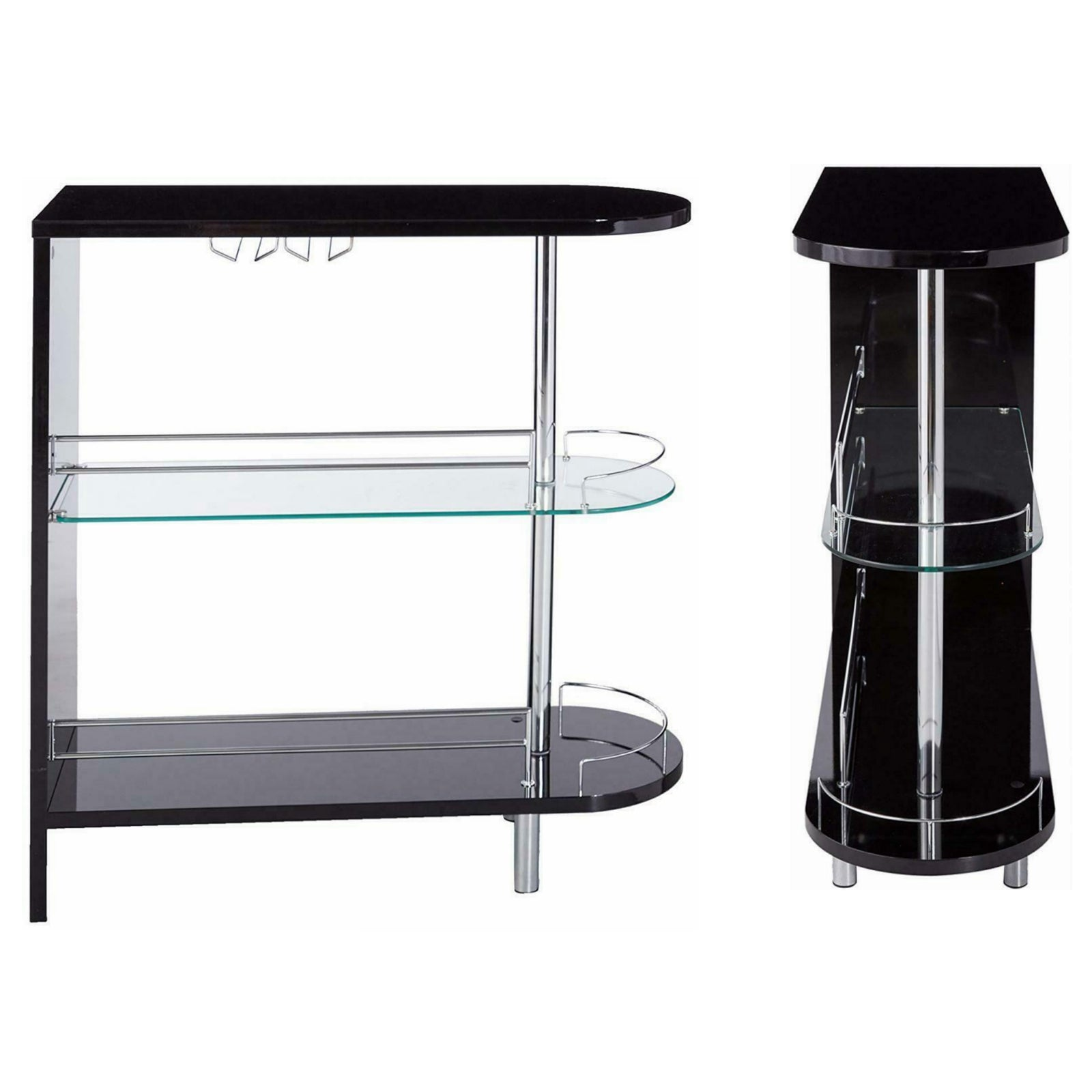 Slate Gray Coaster 101064 | Bar Units Glossy Bar Table with 2-Shelves