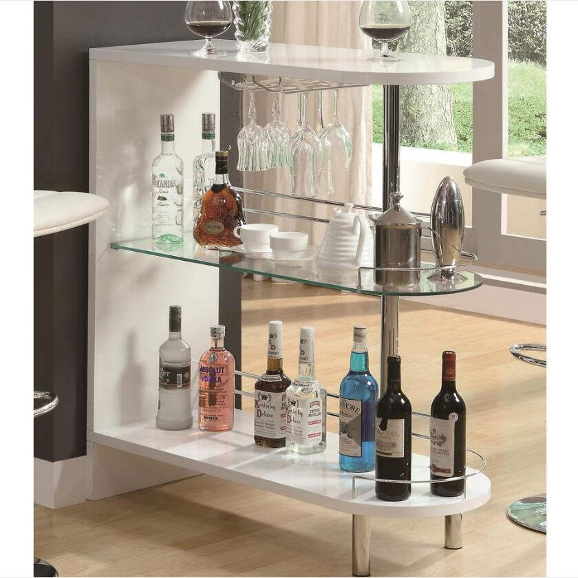 Tan Coaster 101064 | Bar Units Glossy Bar Table with 2-Shelves