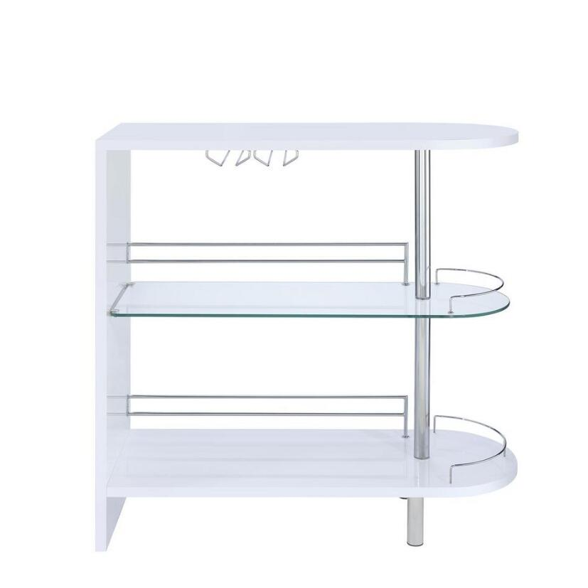 Lavender Coaster 101064 | Bar Units Glossy Bar Table with 2-Shelves