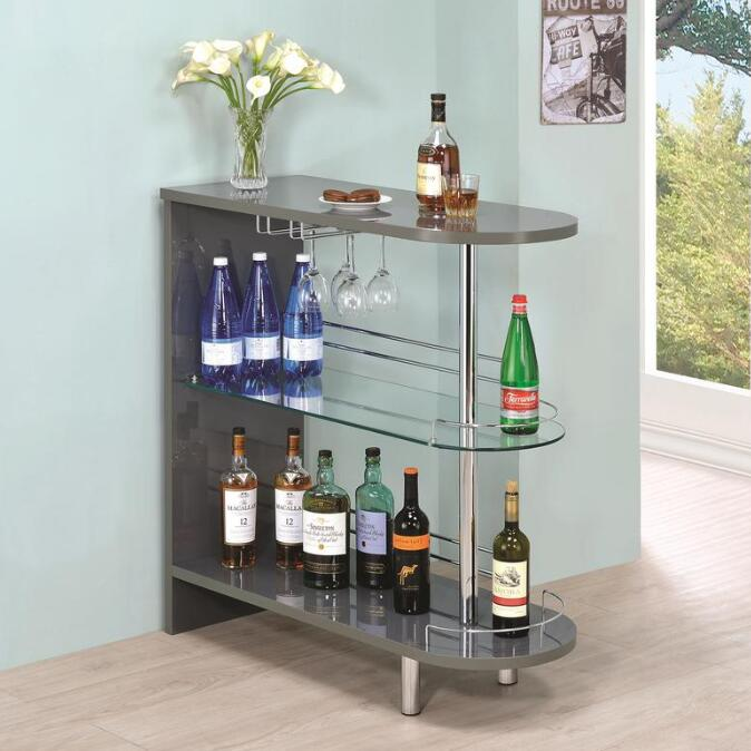 Dark Gray Coaster 101064 | Bar Units Glossy Bar Table with 2-Shelves