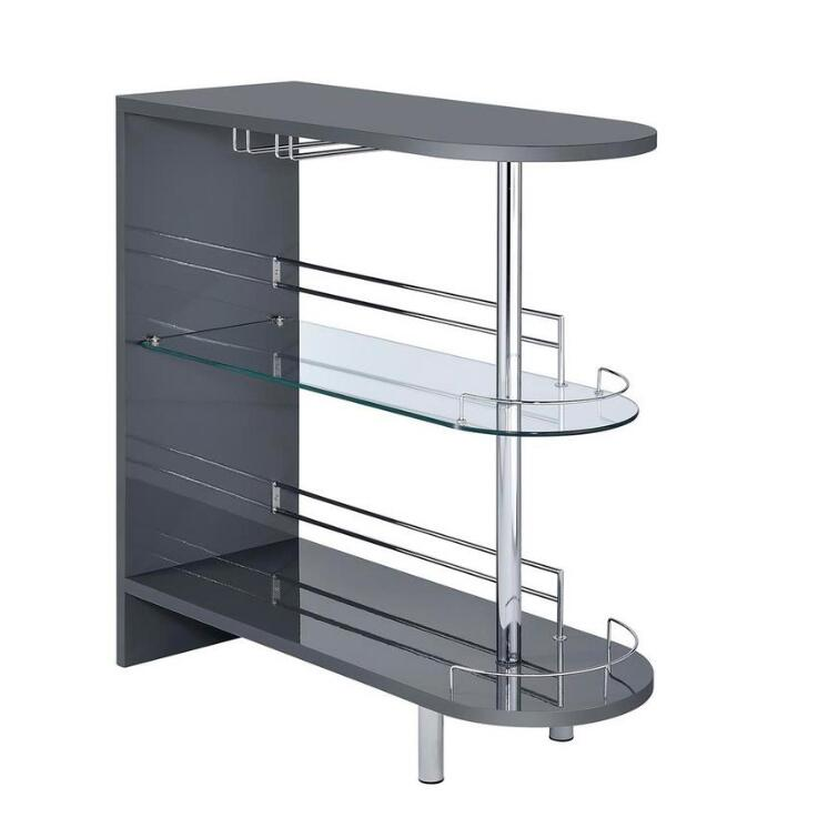 Dim Gray Coaster 101064 | Bar Units Glossy Bar Table with 2-Shelves