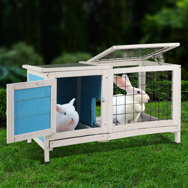 Black Wooden Small Animal Chicken Coop Rabbit Hutch Bunny House Gage with 2 Removable
