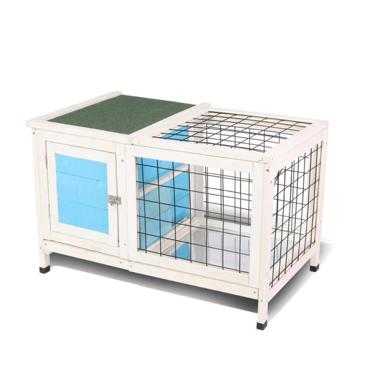 Sky Blue Wooden Small Animal Chicken Coop Rabbit Hutch Bunny House Gage with 2 Removable