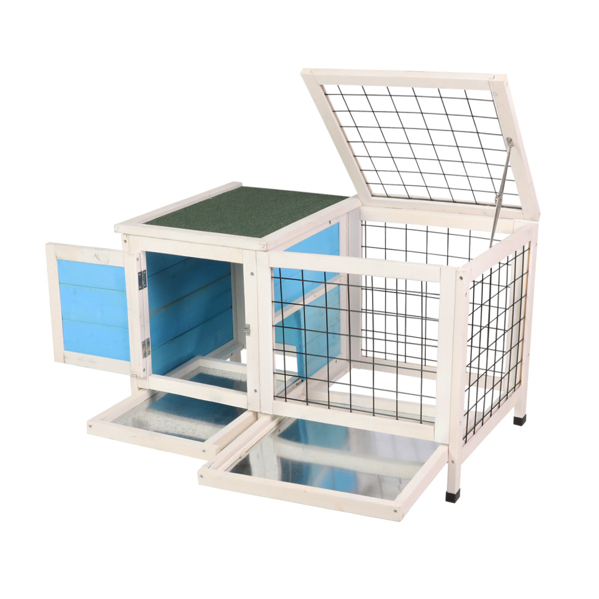 Beige Wooden Small Animal Chicken Coop Rabbit Hutch Bunny House Gage with 2 Removable