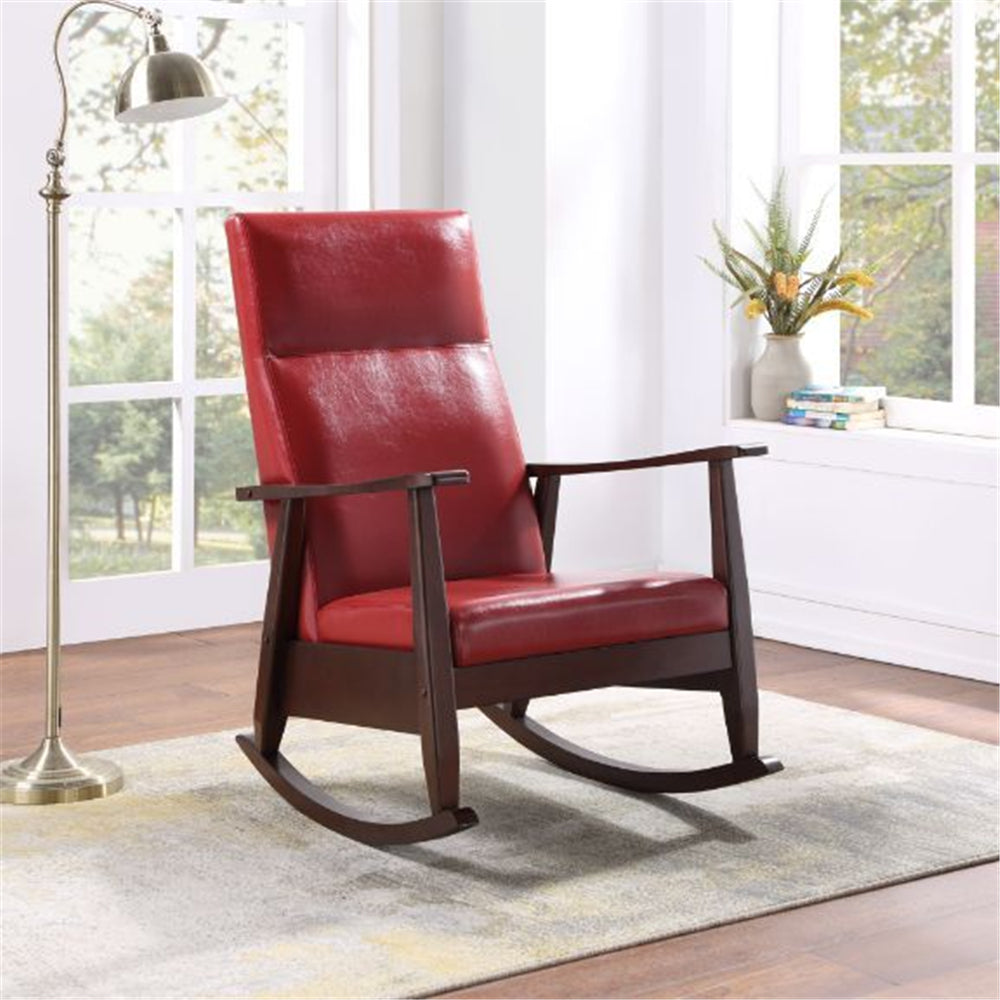 Raina Rocking Chair With Upholstered Seat and Back Cushion Red PU & Espresso Finish BH59931