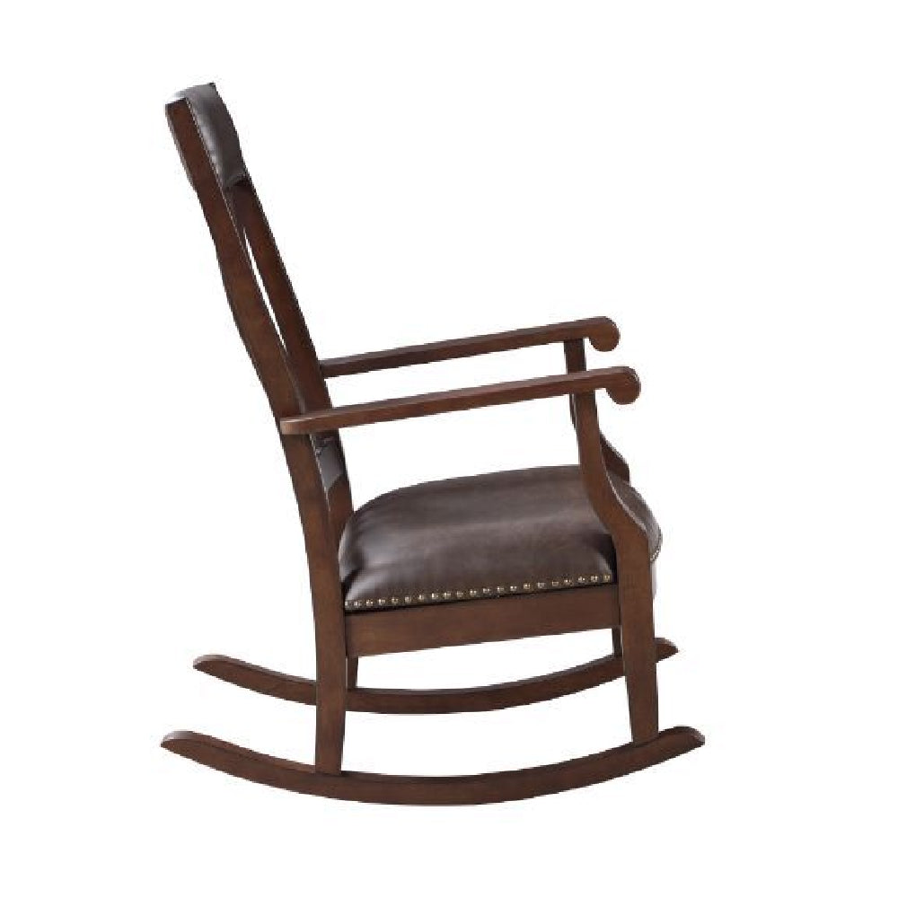 Wooden Slatted Back and Upholstered Trim Rocking Chair Brown PU & Walnut Finish BH59937