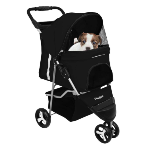Black 2 in 1 Premium Quality Pet Cat Dog Stroller Travel Carrier Light Weight