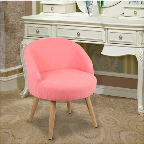 Light Salmon Vanity Stool Chair Ottoman Makeup Bathroom Accent Stool