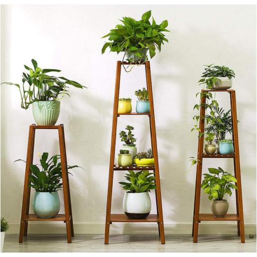 Gray Bamboo Tall Plant Stand Pot Holder Small Space Table