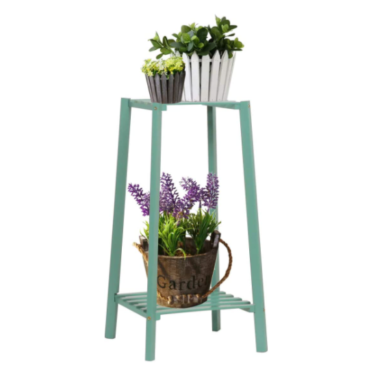 Light Slate Gray Bamboo Tall Plant Stand Pot Holder Small Space Table