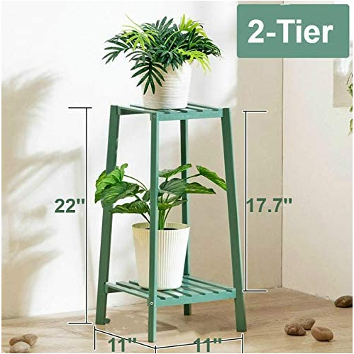 Dark Olive Green Bamboo Tall Plant Stand Pot Holder Small Space Table