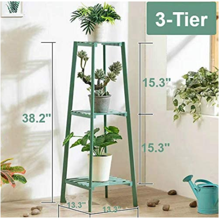White Smoke Bamboo Tall Plant Stand Pot Holder Small Space Table