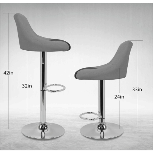 White Smoke Faux Leather Bar Stools Adjustable 360 Degree Swivel Backrest Footrest Barstool Set of 4