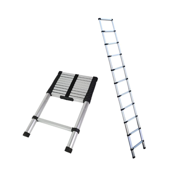 Gray Telescoping Ladder Aluminum Telescopic Extension Tall EN131 (10.5 FT)