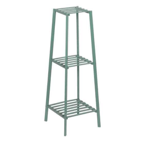Slate Gray Bamboo Tall Plant Stand Pot Holder Small Space Table