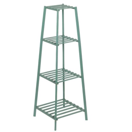 Dark Sea Green Bamboo Tall Plant Stand Pot Holder Small Space Table
