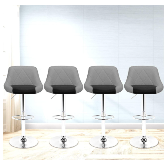 Light Slate Gray Faux Leather Bar Stools Adjustable 360 Degree Swivel Backrest Footrest Barstool Set of 4