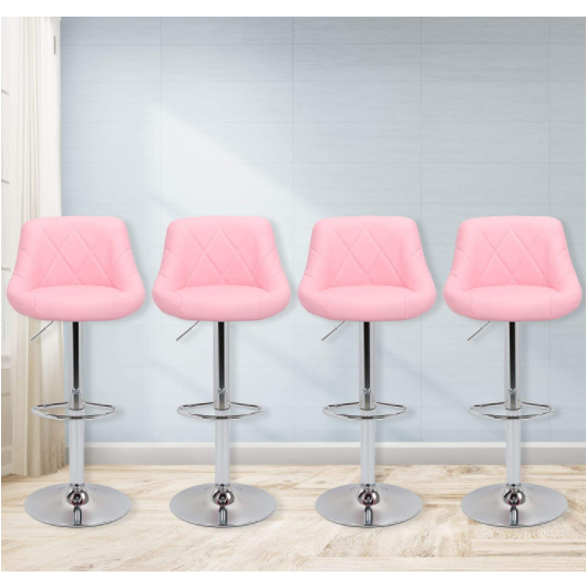 Pink Faux Leather Bar Stools Adjustable 360 Degree Swivel Backrest Footrest Barstool Set of 4