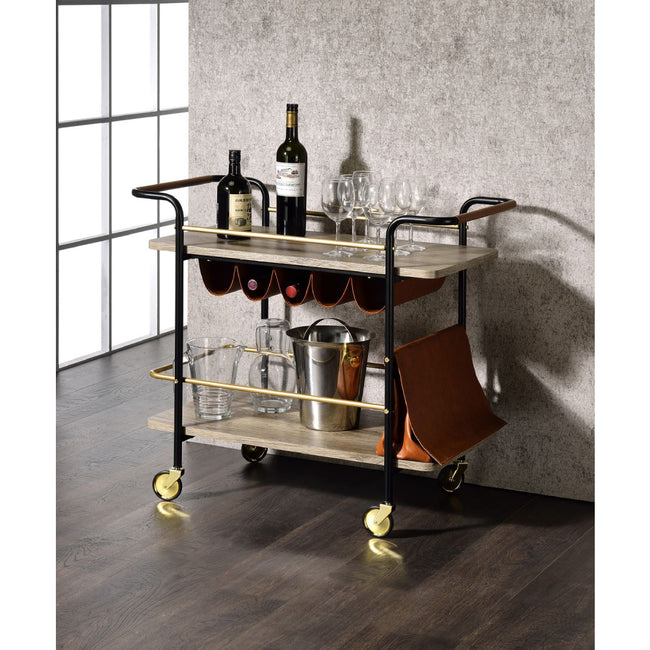 2-Tier Serving Cart With Wine Bottle Storage and Pouch Natural, Gold & Black Finish BH98417