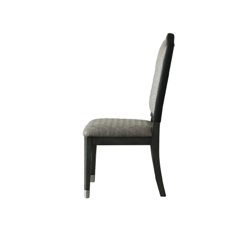 Nail-head Trim Accent Side Chair w/Upholstered Seat and Back Cushion, Two Tone Beige Fabric & Charcoal Finish BH68812