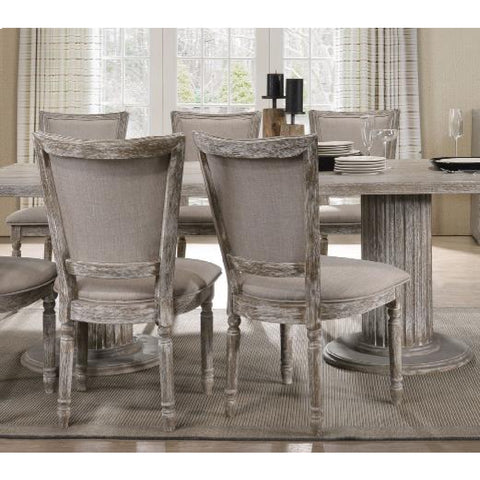 Button Tufted Oval Back Side Chairs Dining Room in PU & Antique Silver - 2 Counts BH66922