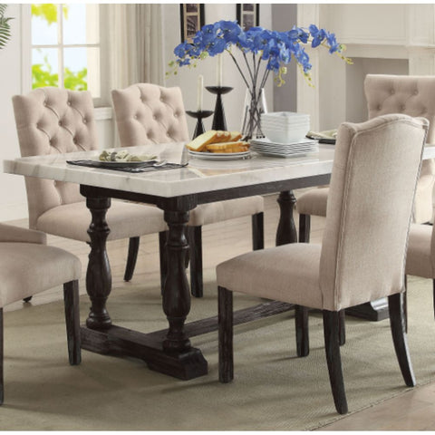 Dining Chair Set Fabric Padded Side Chair with Solid Wood Legs Nailed Trim Living Room BH486200
