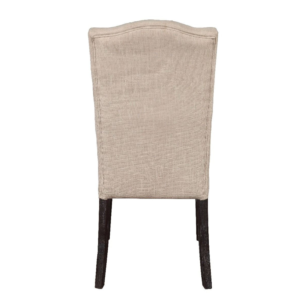 2 Counts - Gerardo Armless Side Chairs With Padded Back & Seat in Beige Linen & Weathered Espresso BH60822