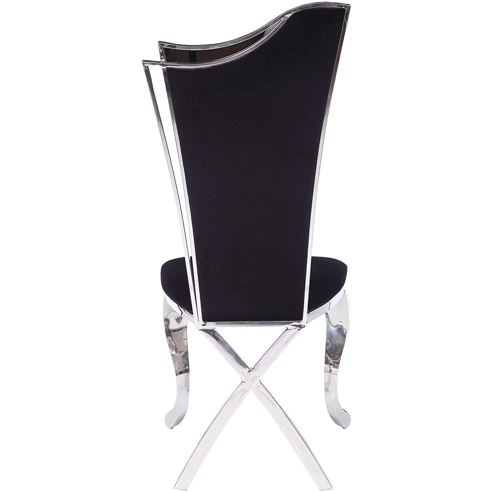 "High Backrest Armless Side Chair With Metal Cabriole Front Leg & ""X"" Shape Back Leg in Fabric & Stainless Steel BH62079"