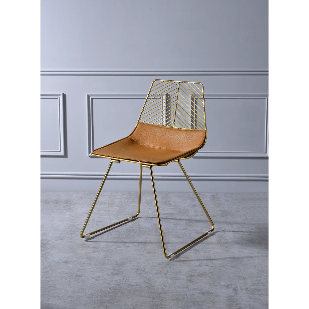 2 Counts - Fantasia Metal Frame Side Chair Whiskey PU & Gold BH96847
