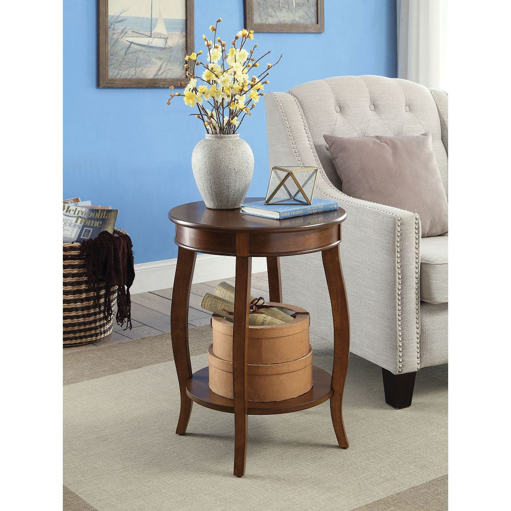 Aberta Round Top Side Table With Bottom Shelf Walnut