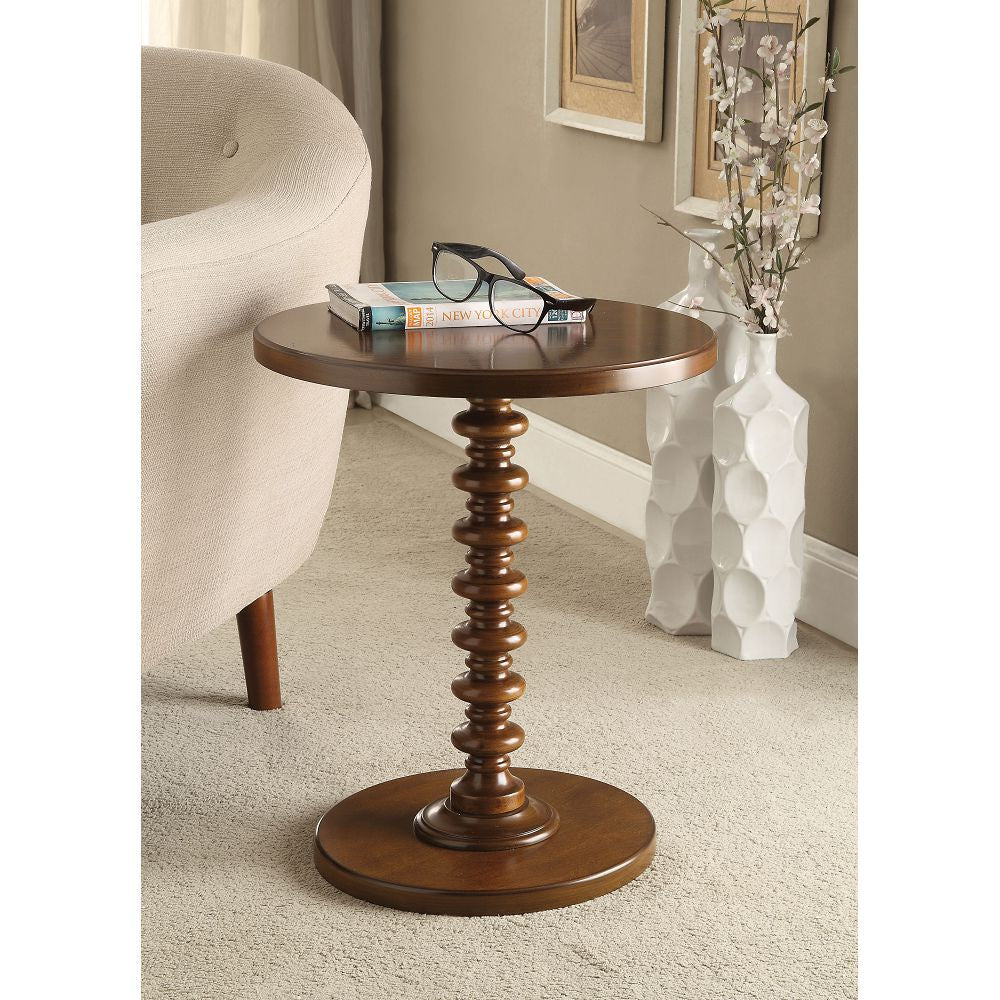 Acton Round Pedestal Side Table Bedroom Walnut