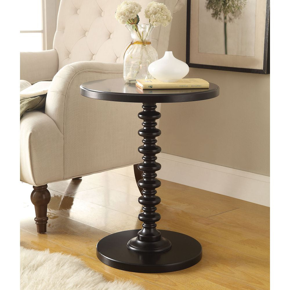 Acton Round Pedestal Side Table Bedroom Black
