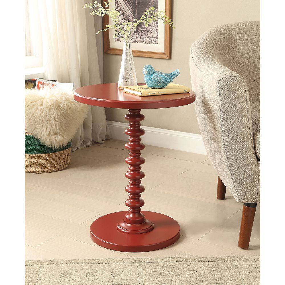 Acton Round Pedestal Side Table Bedroom Red