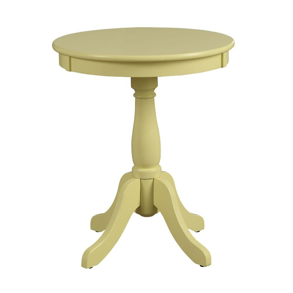 Alger Round Side Table Turned Pedestal Base w/4 Legs Light Yellow
