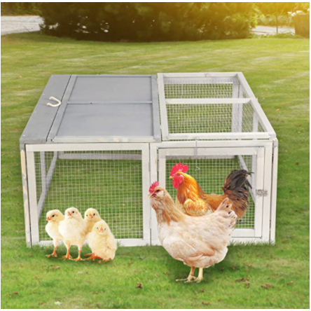 "Gray 45.7""Foldable  Wooden Chicken Coop /Bunny Rabbit Pet Hutch(Gray)"