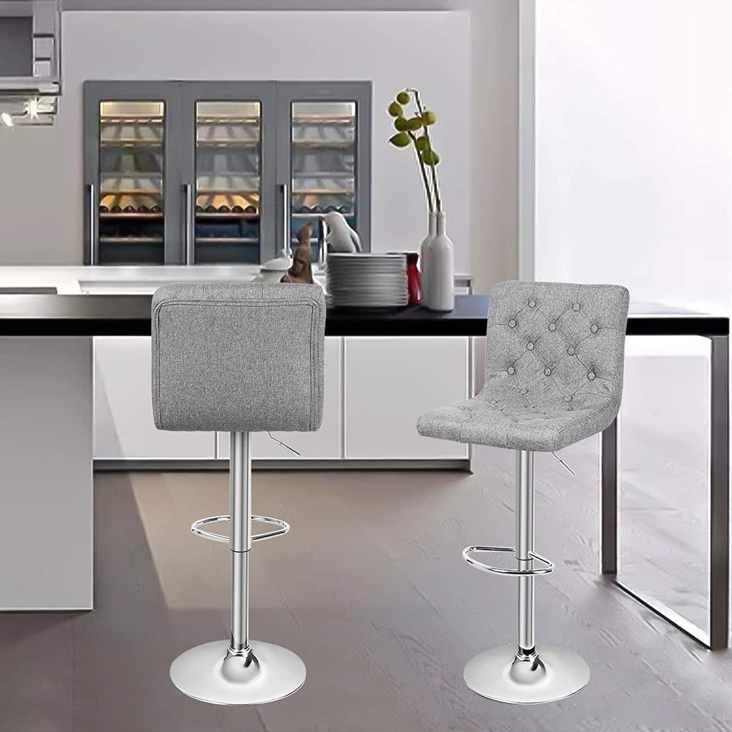 Dark Gray Square Adjustable Height Swivel Bar Stool Lift Pub Chair (Fabric Gray) Set of 2