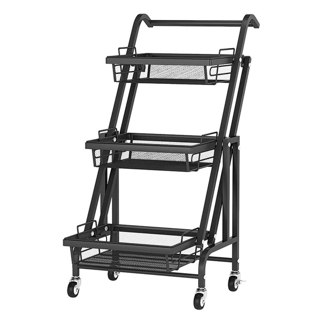 3-Tier Mesh Wire Rolling Cart Storage Rack with 4 Wheels Black