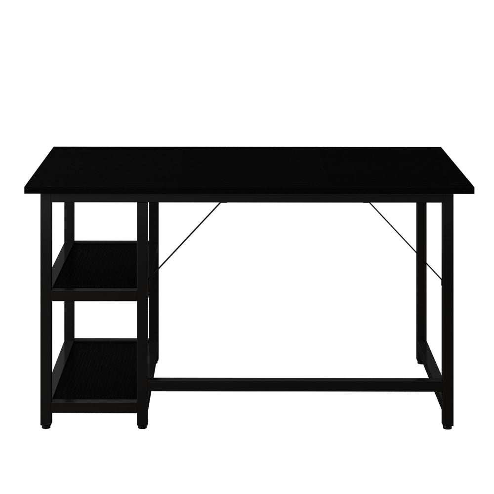 "Black 47"" Computer Study Desk with Reversible 2 Tiers Storage Shelves Home Office BH6643058"
