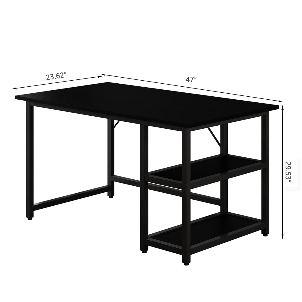"47"" Computer Study Desk with Reversible 2 Tiers Storage Shelves Home Office Black - Size"
