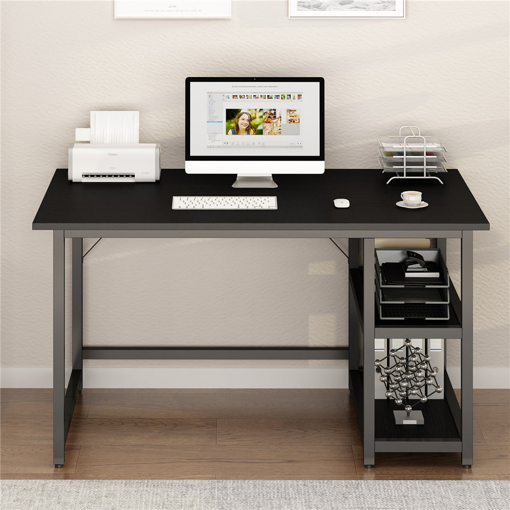 "47"" Computer Study Desk with Reversible 2 Tiers Storage Shelves Home Office Black"