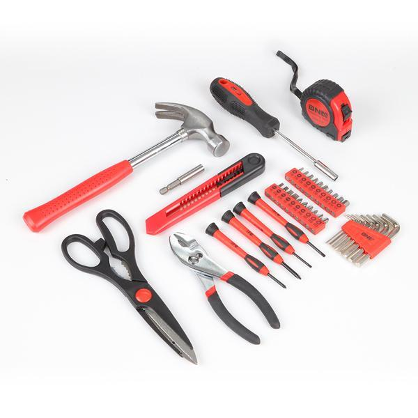 Light Coral 39 Pieces Tool Set General Household Hand Tool Kit with Tool Box Storage Case