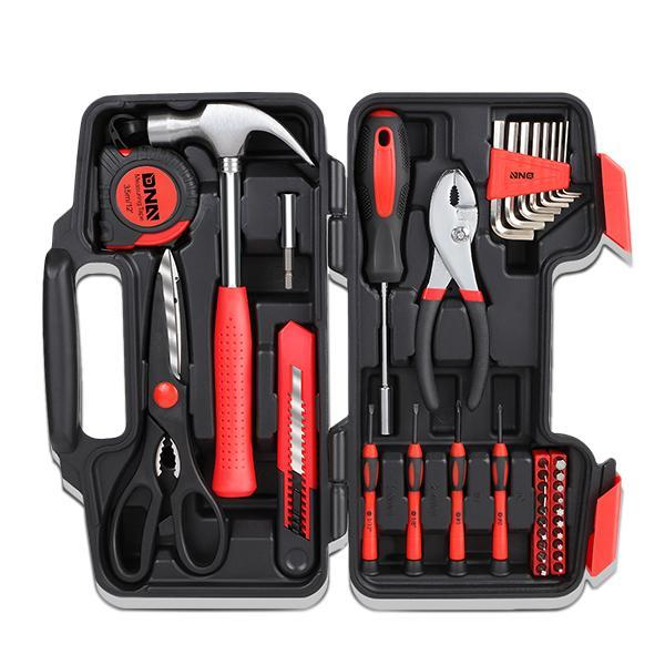 39 Pieces Tool Set General Household Hand Tool Kit with Tool Box Storage Case - Red