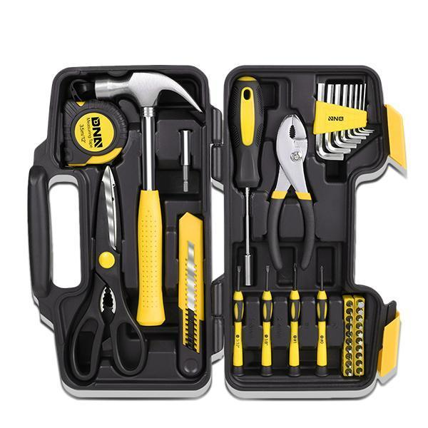39 Pieces Tool Set General Household Hand Tool Kit with Tool Box Storage Case Yellow