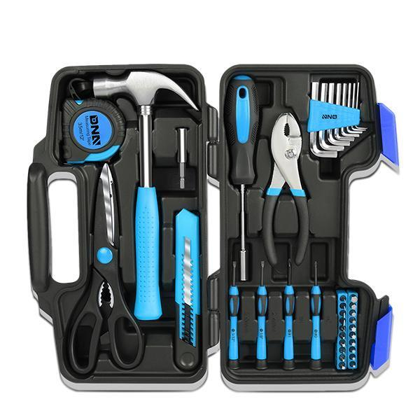 39 Pieces Tool Set General Household Hand Tool Kit with Tool Box Storage Case - Blue