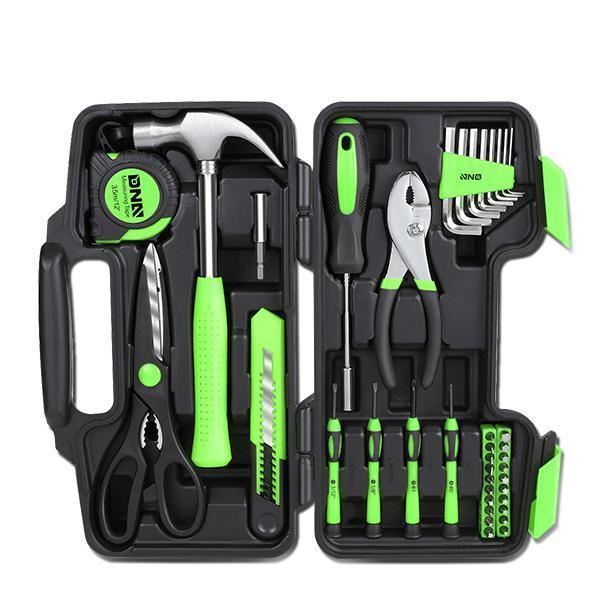 39 Pieces Tool Set General Household Hand Tool Kit with Tool Box Storage Case - Green