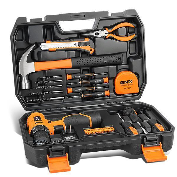 Drill & Home 27 Pieces Tool Kit Set General Household Hand Tool Kits with Tool Box Storage Case