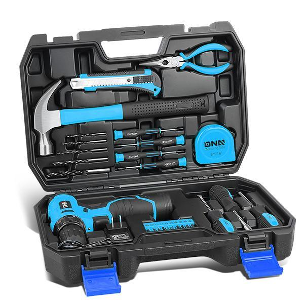 Dark Slate Gray Drill & Home 27 Pieces Tool Kit Set General Household Hand Tool Kits with Tool Box Storage Case