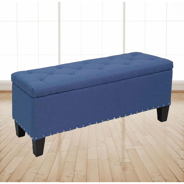 "42"" Stylish Rectangular Storage Ottoman Bench Tufted Footrest Lift Top Blue"